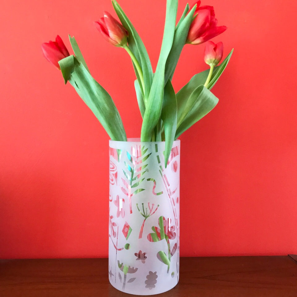 Contemporary Hand Decorated Glass Vase
