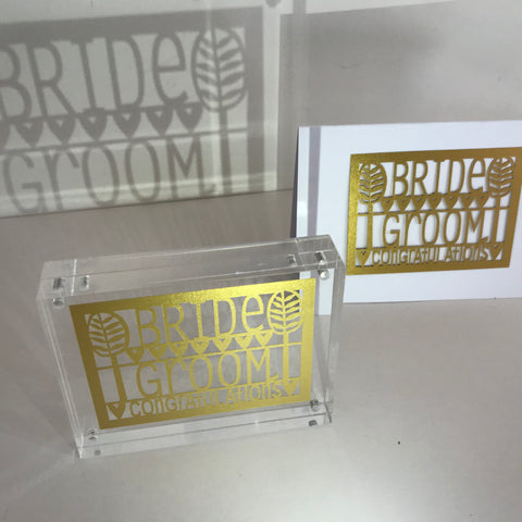 Bride & Groom Paper Cut Block