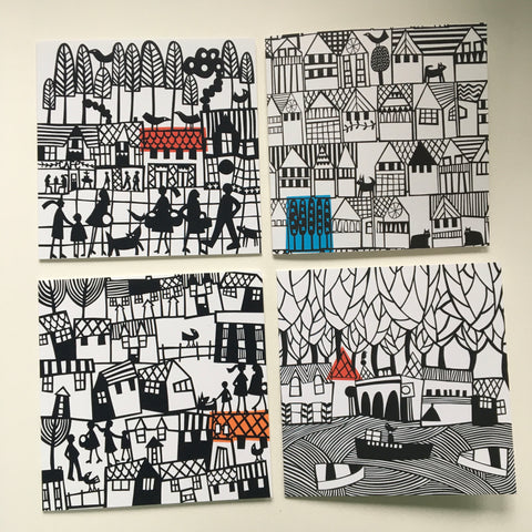 4 Decorative Greeting Cards FREE UK DELIVERY
