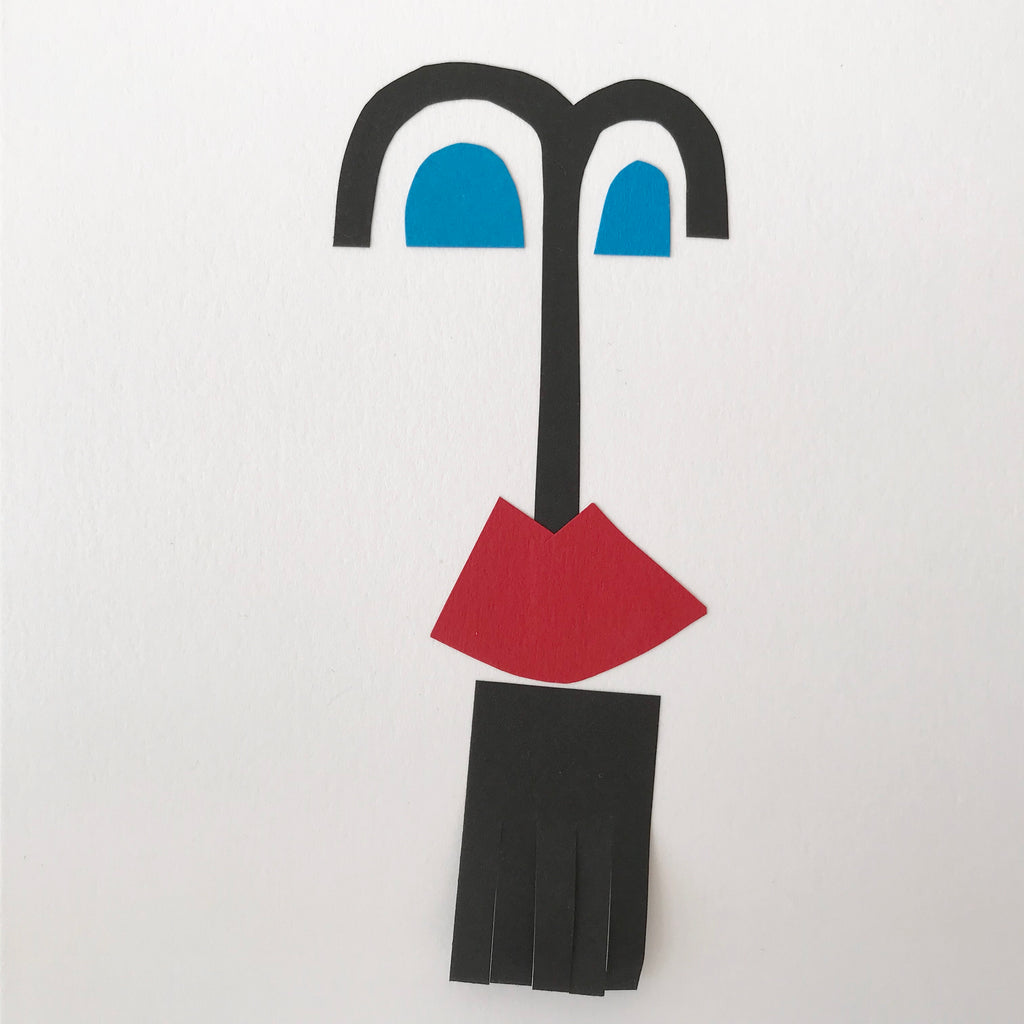 Hand Made Collage Card - Man with a Goatee