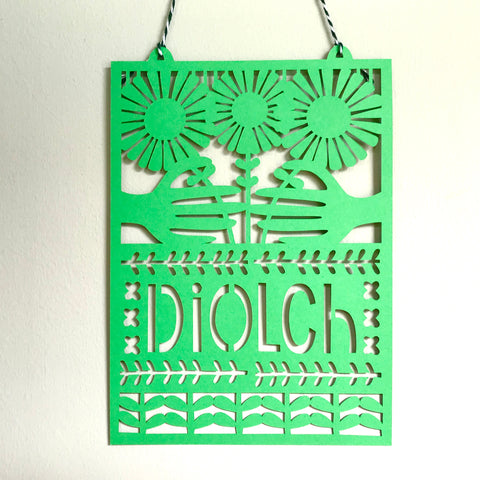 Diolch Paper Cut for Makers Guild in Wales