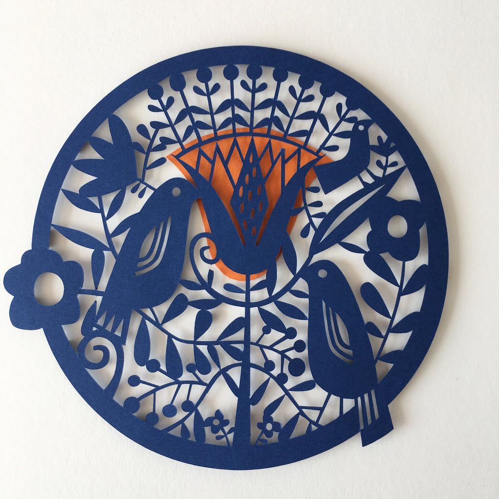 Blue Birds Paper Cut