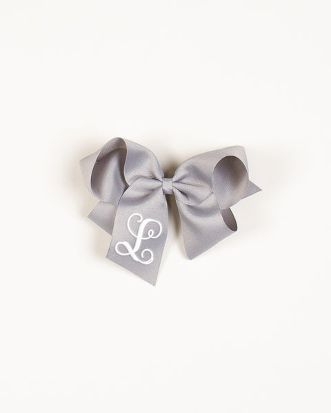 Grey Classic Bow on ALLIGATOR CLIP