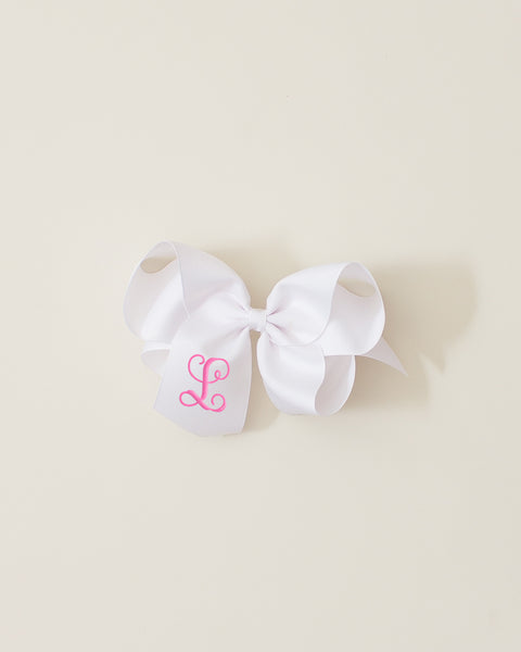 White Classic Bow on ALLIGATOR CLIP