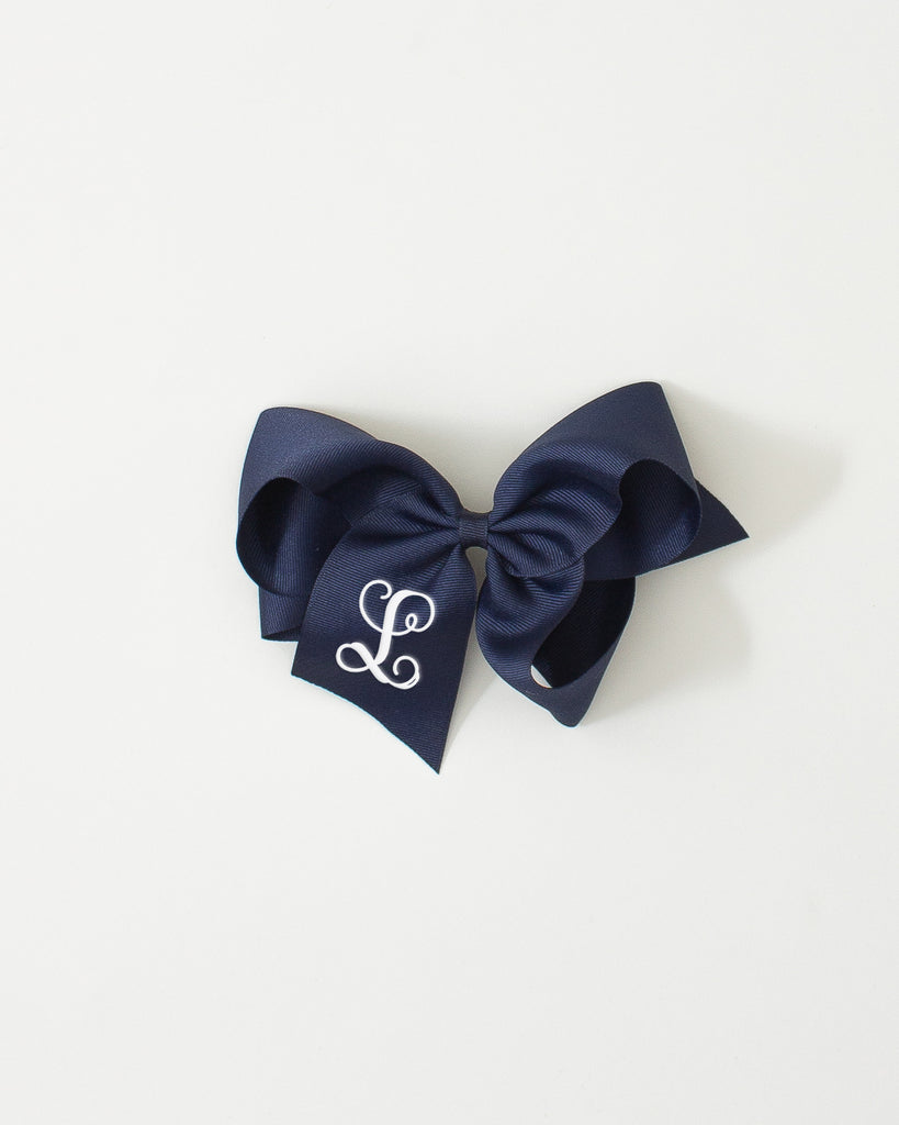 Navy Classic Bow on ALLIGATOR CLIP