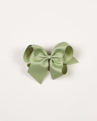 Spring Moss Classic Bow on ALLIGATOR CLIP