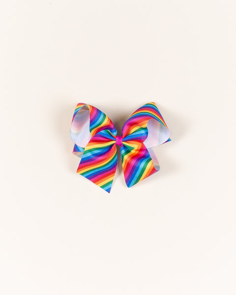 Rainbow Stripe Classic Bow on ALLIGATOR CLIP
