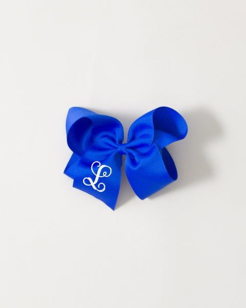 Electric Blue Classic Bow on ALLIGATOR CLIP