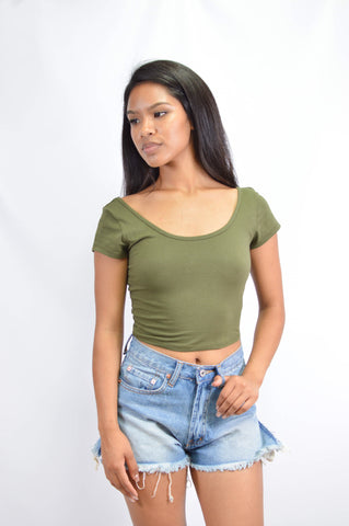 Betsy Top Olive - Style-Holic