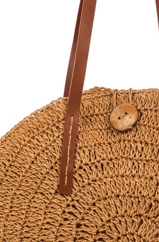 Tan Straw Shoulder Bag