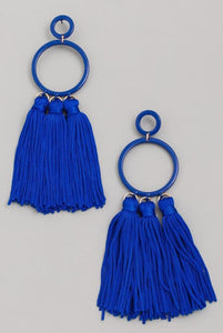 Royal Blue Tassle Earrings