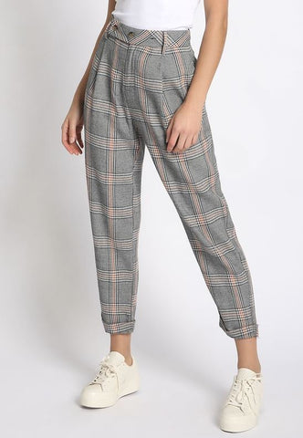 Paige Cropped Plaid Pants
