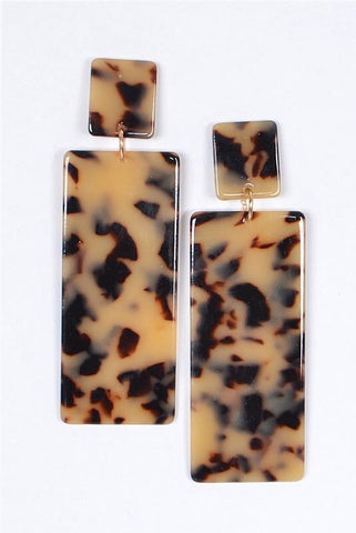 Leopard Drop Down Earrings