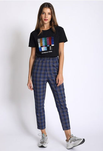 Becky Blue Plaid Pants