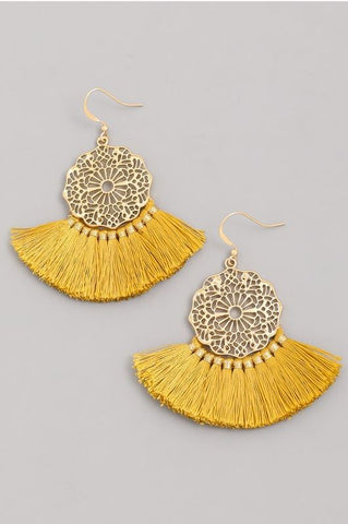 Fan Drop Mustard Earrings