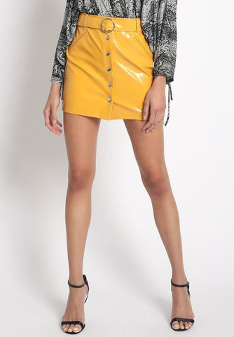 Yessy Yellow Leather Skirt