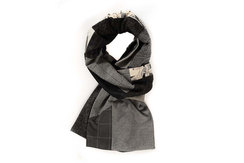 Geometric patchwork scarf - Grey, black and comic fabric