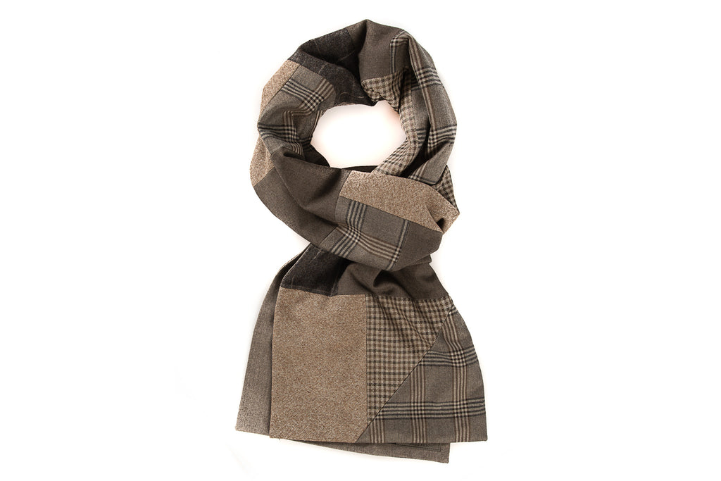 Geometric patchwork scarf - Beige and brown