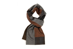 Geometric patchwork scarf - Grey, charcoal and rust