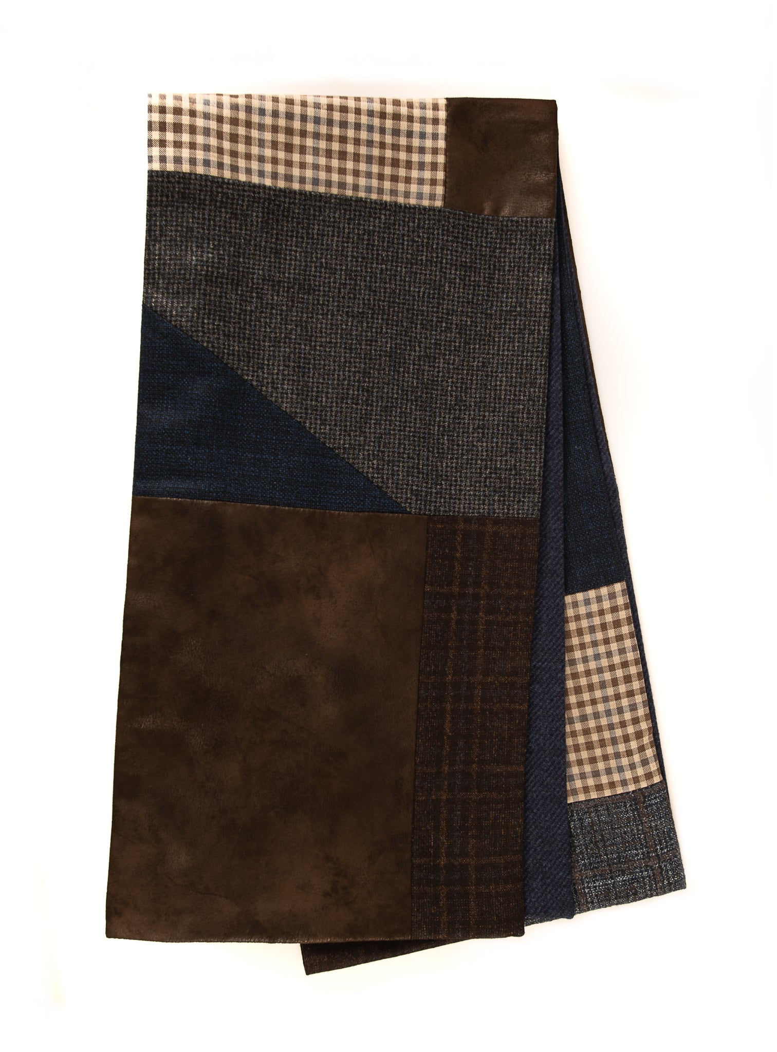 Geometric patchwork scarf - Blue, beige and brown