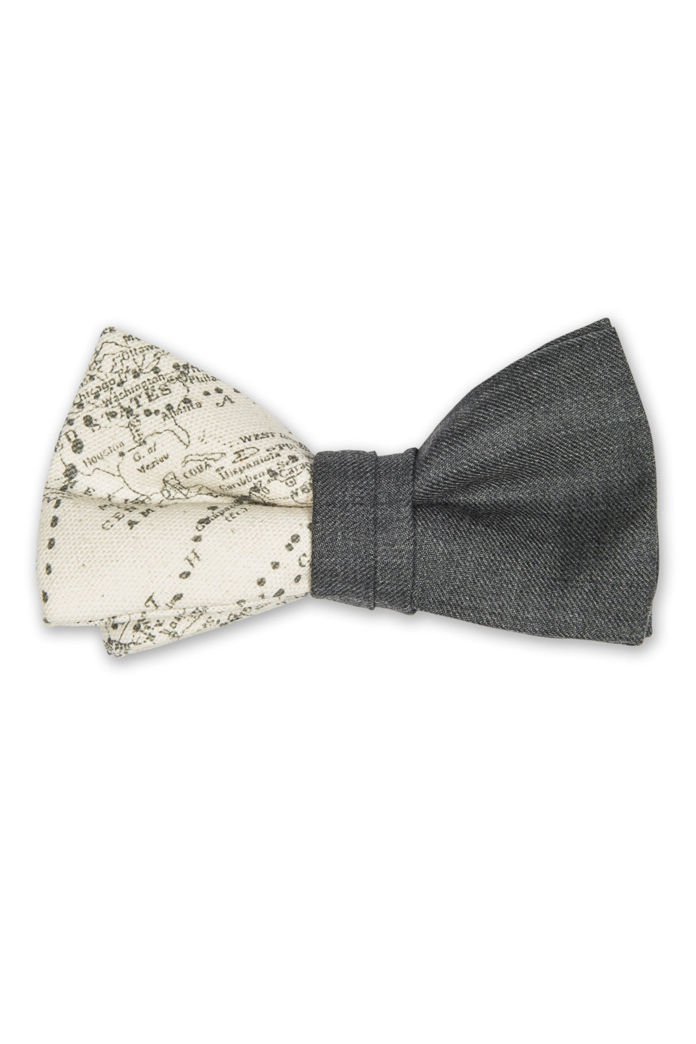Duo bow tie with map fabric - Noeud pap en duo avec tissu mappemonde