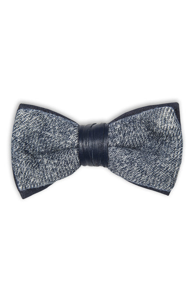 Duo bow tie with fleece fabric and leather -  Noeud papillon duo avec tissu fleece et cuir bleu