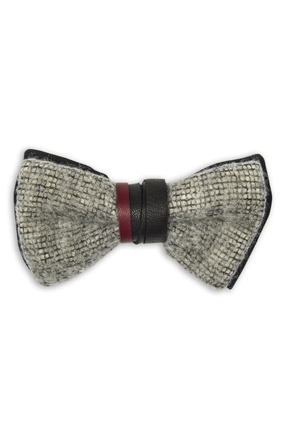 Handmade imported mohair bow tie with leather - Noeud papillon mohair importé et cuir
