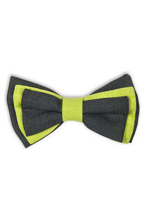 Noeud papillon avec trois palmes - Grey wool bow tie with 3 different layers on each side.