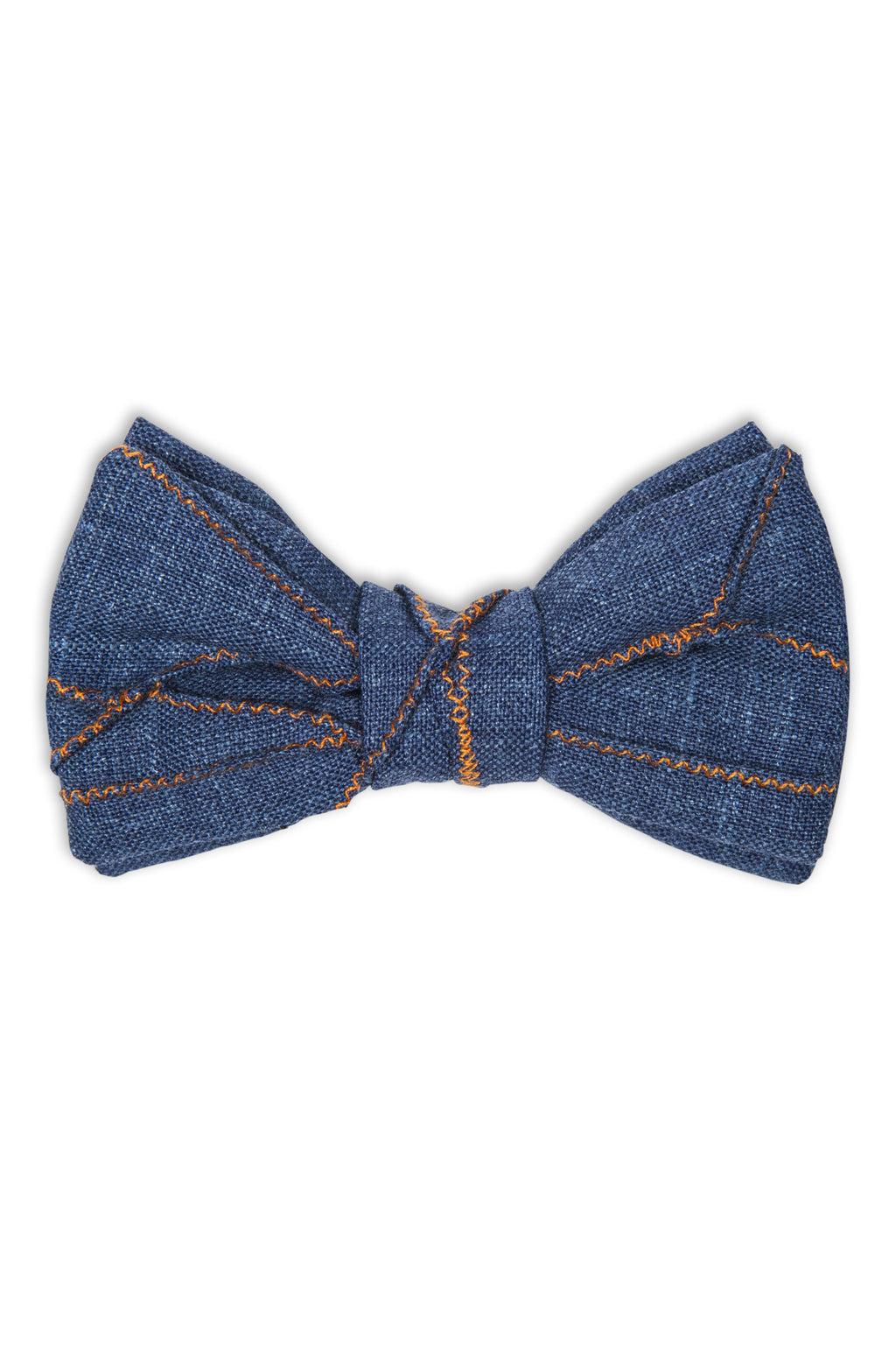 Handmade grey wool bow tie with apparent stitching - Noeud papillon en laine avec coutures inversées apparentes