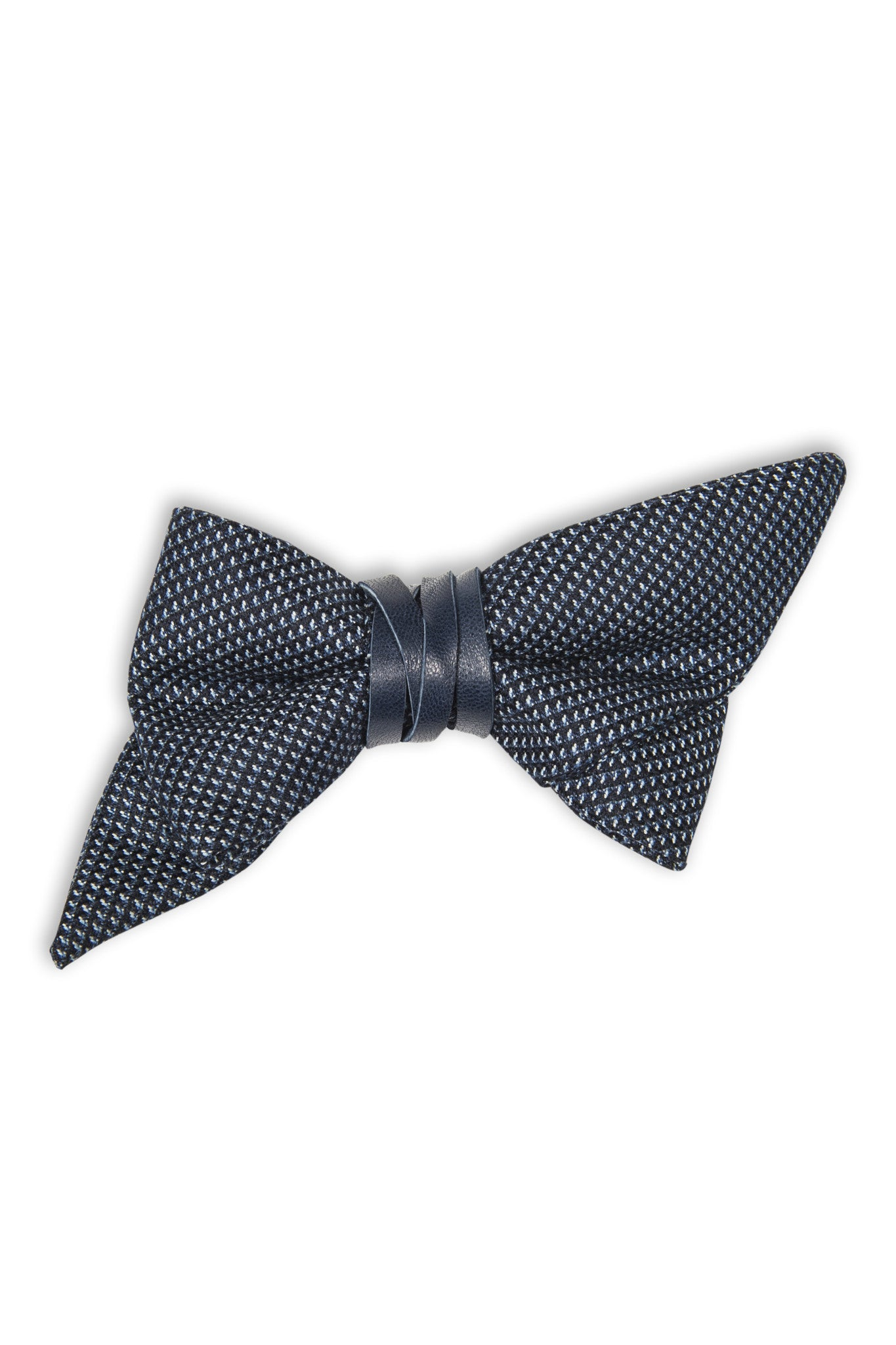 Noeud papillon avec cuir bleu et coupe spéciale - Blue wool bow tie with leather and special cut