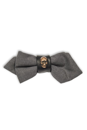 Noeud papillon avec cuir et tête de mort - Grey wool bow tie with leather and skull