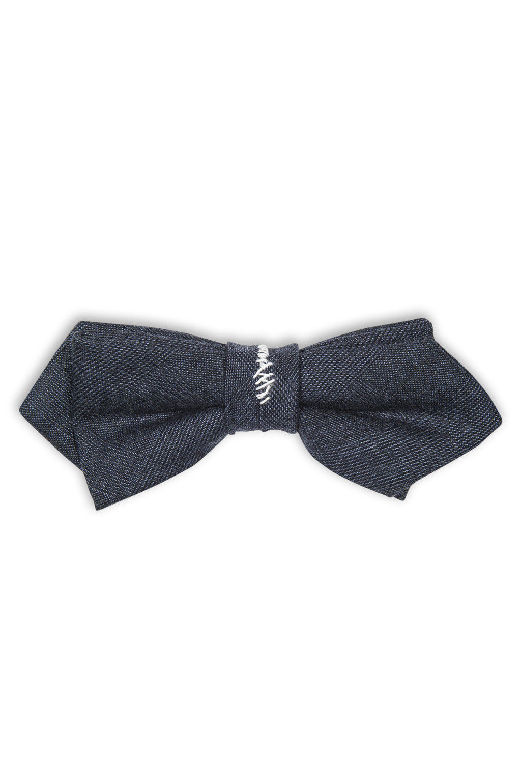Noeud papillon avec fil blanc -Handmade blue bow tie with white threads