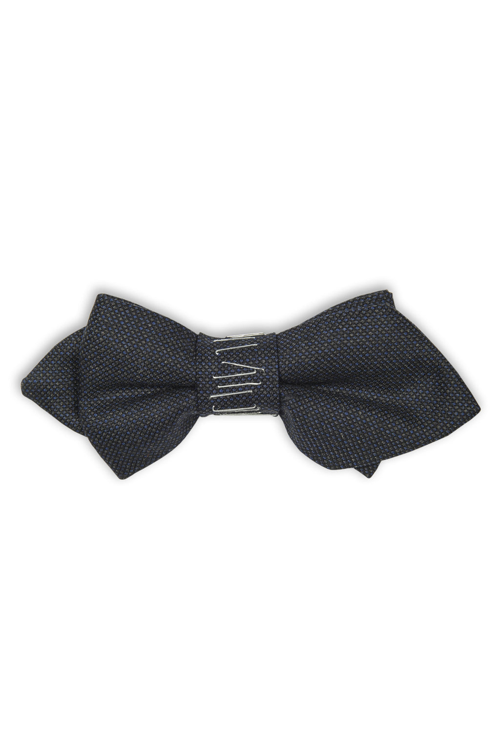 Noeud papillon avec agraphes sur le noeud -  Imported blue wool bow tie with staples