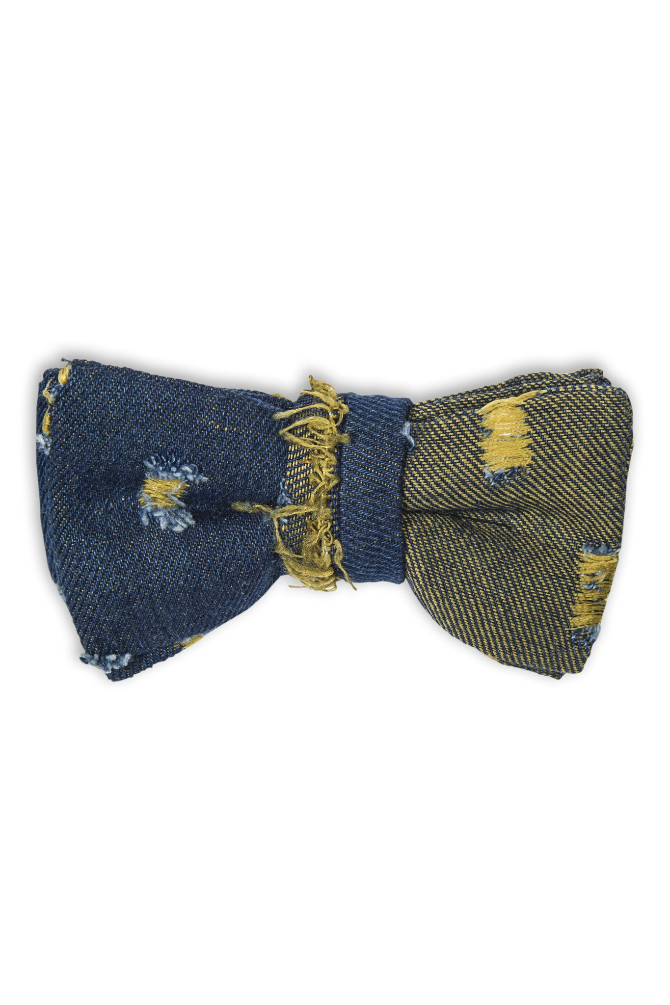 Noeud papillon en duo de denim - Handmade bow tie with blue denim