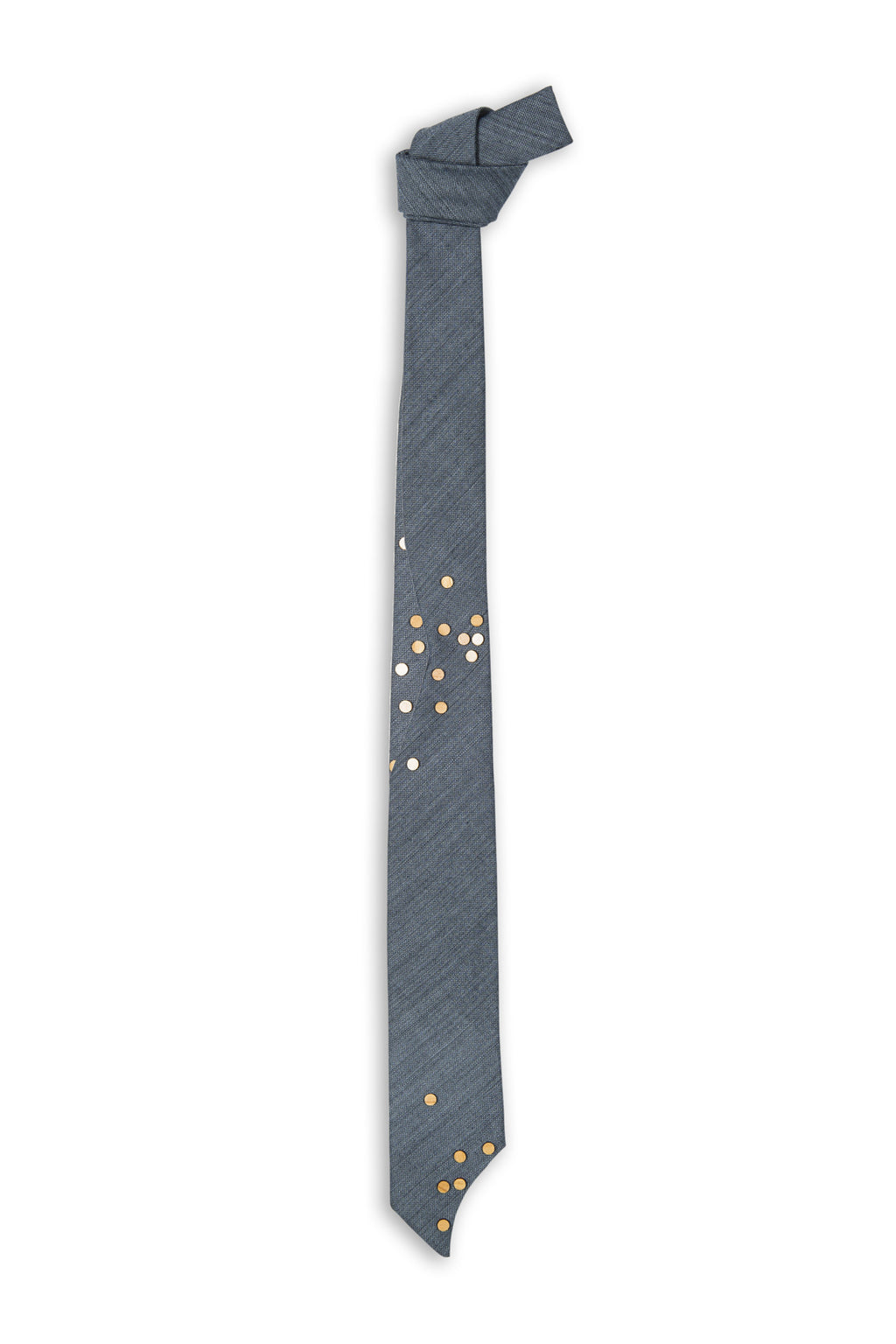 Laine bleue avec coupe spéciale et bouton bois - Blue wool with special cut and wood dots