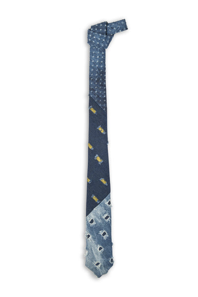 Cravate trilogie jeans avec trous - Trash looking tie trio denim with holes