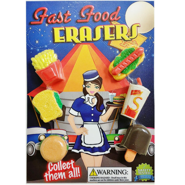 "1"" FAST FOOD ERASERS - 250 COUNT"