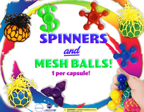 "(PREORDER) 2"" FIDGET SPINNERS & MESH BALLS MIX - 250 COUNT"