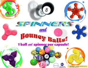 "2"" FIDGET SPINNERS & BOUNCY BALLS! - 250 COUNT (PREORDER ONLY)"