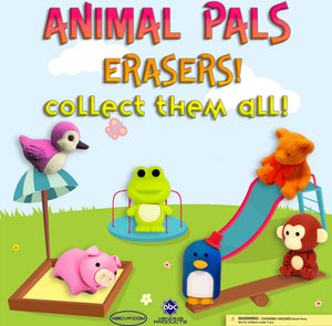 "1"" ANIMAL ERASERS - 250 COUNT"