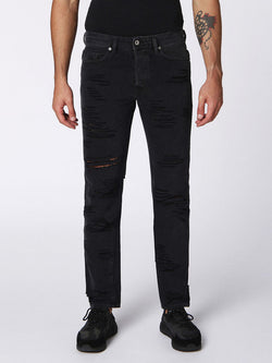 diesel, mens denim, denim, black, straight, distressed
