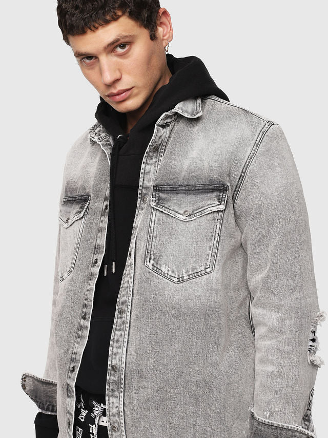 Diesel D-ROOKE-L Destroyed western-style denim shirt