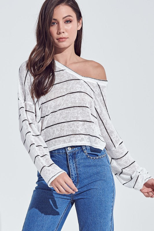 STRIPED OVERSIZE LONG SLEEVE THIN KNIT TOP