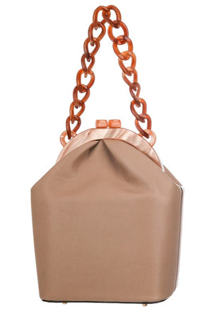 Faux Leather Acetate Chain Bag