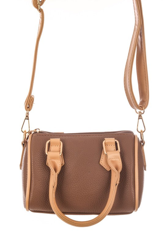 Small Faux Leather Top Handle Bag