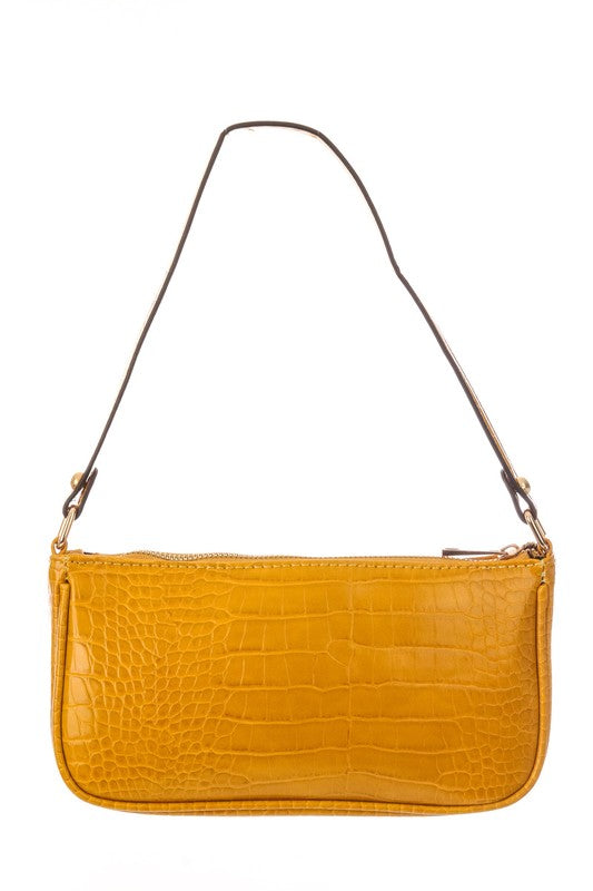 RECTANGLE FAUX GATOR SKIN BAG