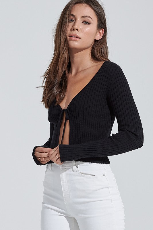 RIBBED LONG SLEEVE TIE TOP