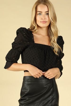 SQUARE NECK EYELET CROP