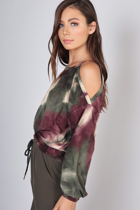 TIE DYE SHOULDER CUT OUT TOP