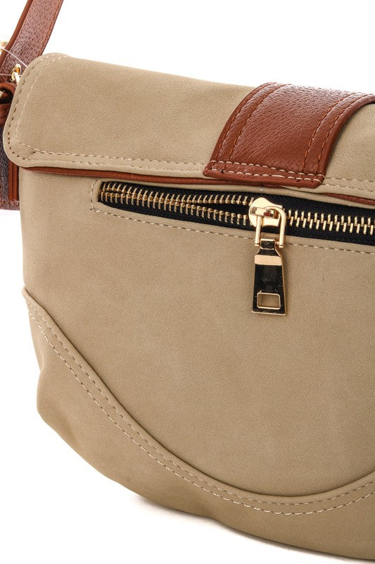 Smooth Belt Lock Faux Leather Bag